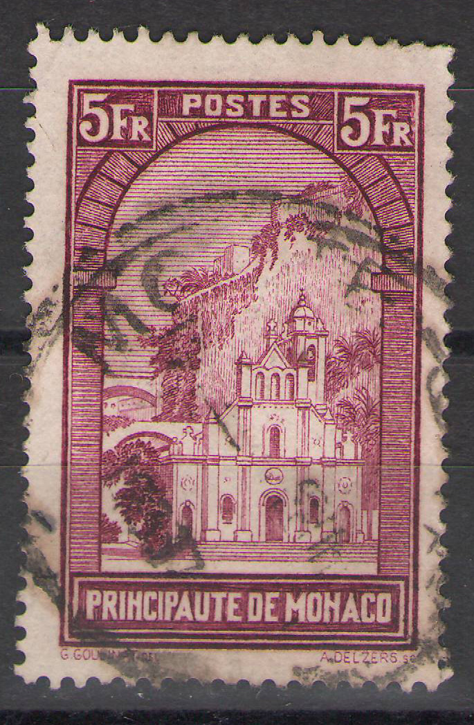 Monaco - 1933 - 5Fr St. Devote - Used - Faulty SPACEFILLER cv €25
