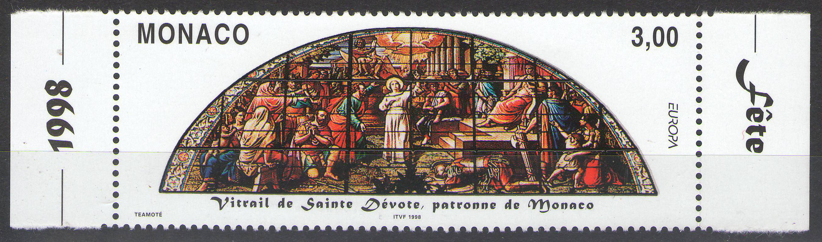 Monaco - 1998 - Saint Devote Stained Glass Window - margin MNH** - cv ?1.50