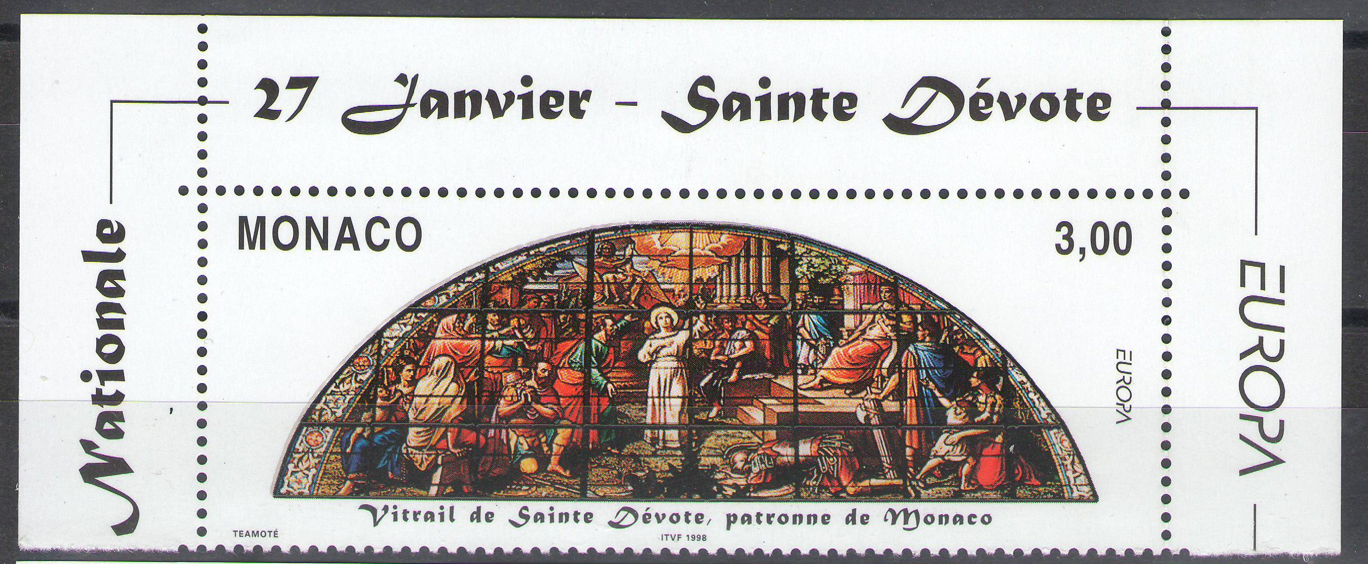 Monaco - 1998 - Saint Devote Stained Glass Window - corner MNH** - cv ?1.50