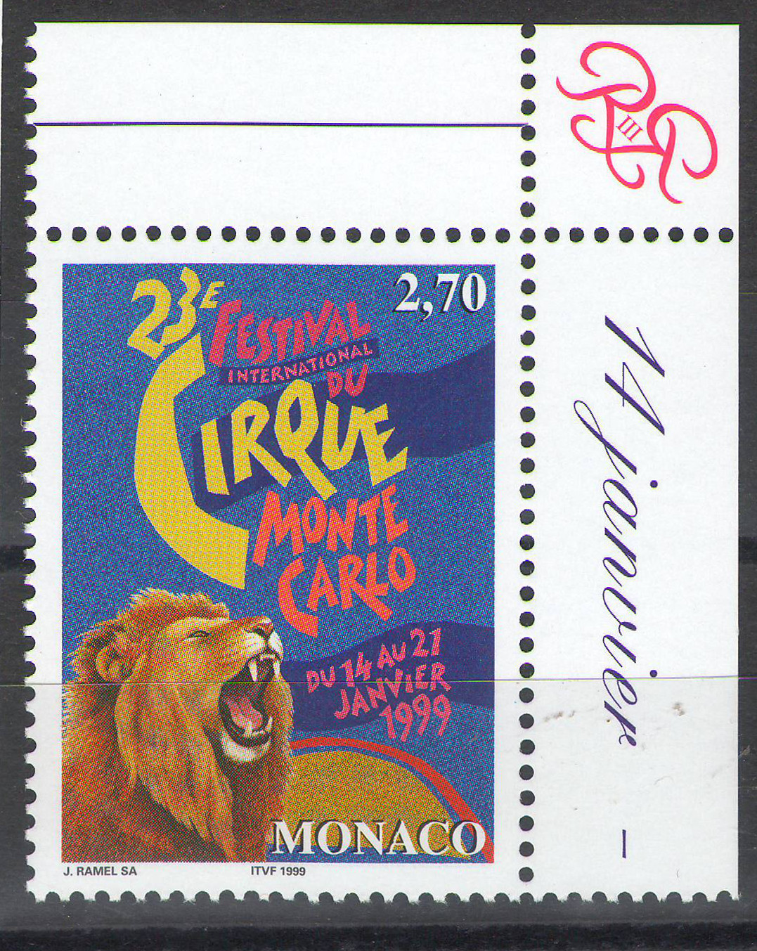 Monaco - 1998 - International Circus Festival - margin MNH ** - cv ?0.80