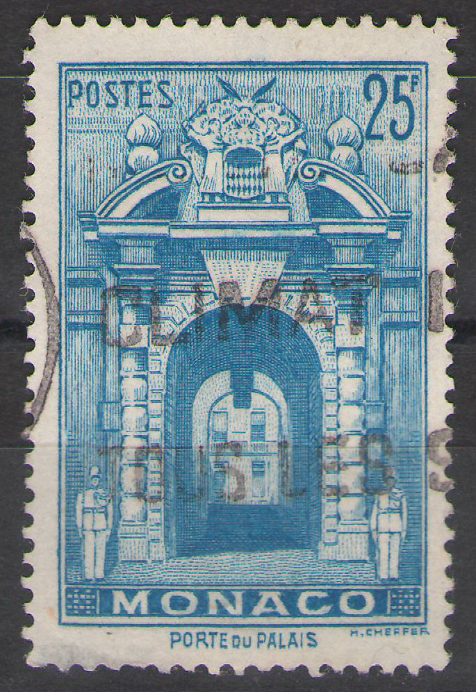 Monaco - 1949 - 25Fr Palace Gate - Used - cv €12