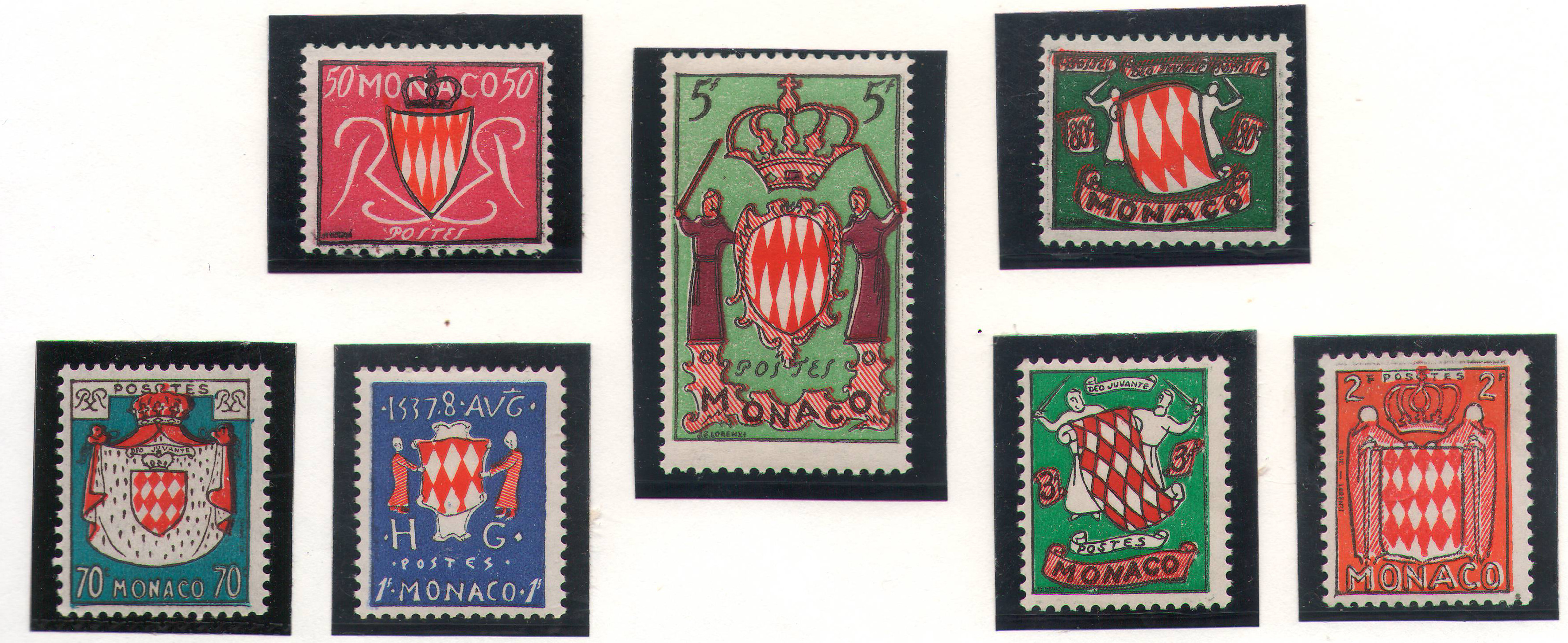 Monaco - 1954 - Emblems - complete set MNH ** (except for lowest value which is MH)