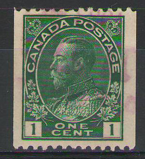 Canada - 1912 - 1c yellow-green coil - used - SG215 - cv £14.00
