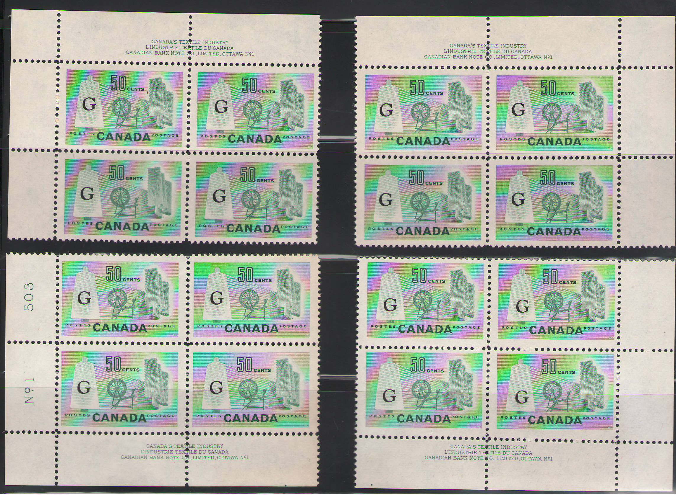 Canada 1961-1962 50c Textile Officials overprinted G - MNH matched set of Plate blocks - Unitrade CV CD$280.
