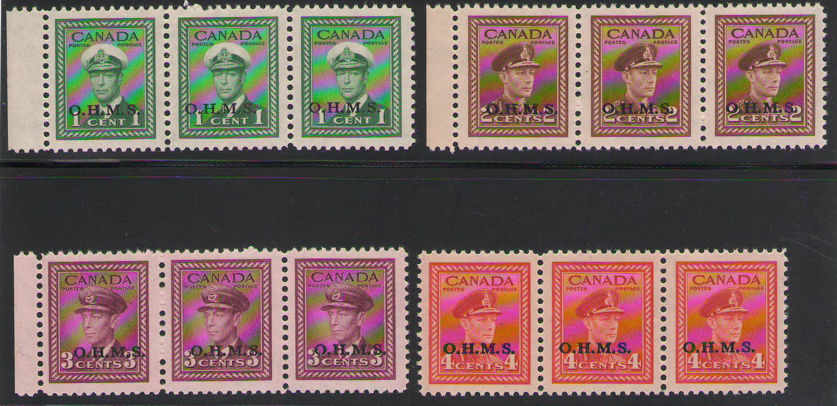 Canada 1949-1950 KGVI War Officials overprinted O.H.M.S, narrow spacign strips of 3 - 1 cent LH rest MNH- Unitrade CV CD$241